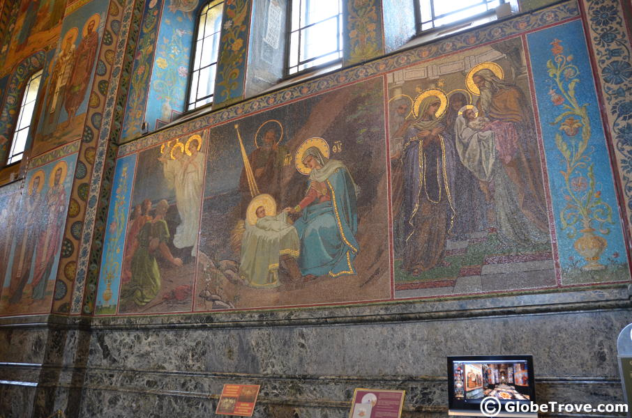 Church of the Savior on Blood Mosaic walls in St. Petersburg