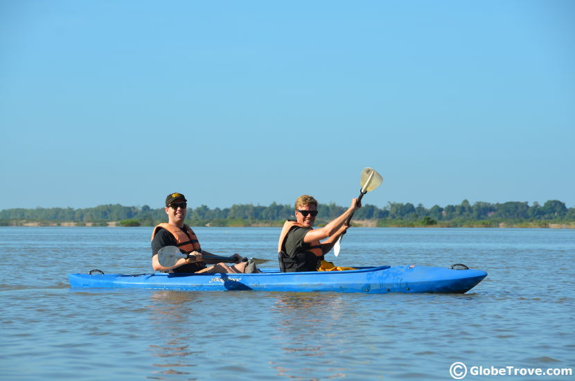 Kayaking with the Irrawaddy dolphins in Kratie
