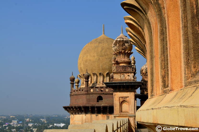Another view of one of the minarets from on top of the Gol Gumbaz