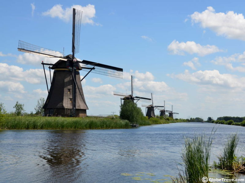 Kinderdijk on a clear summer day