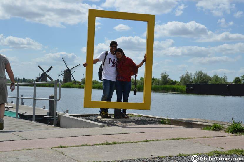 The Nat Geo sign at Kinderdijk demands a pose.