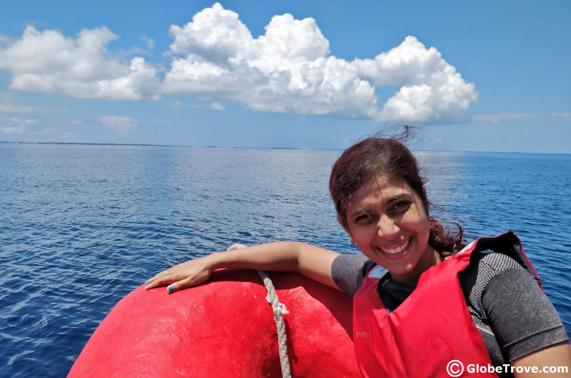 Snorkelling in the banana reef of Addu atoll requires a boat
