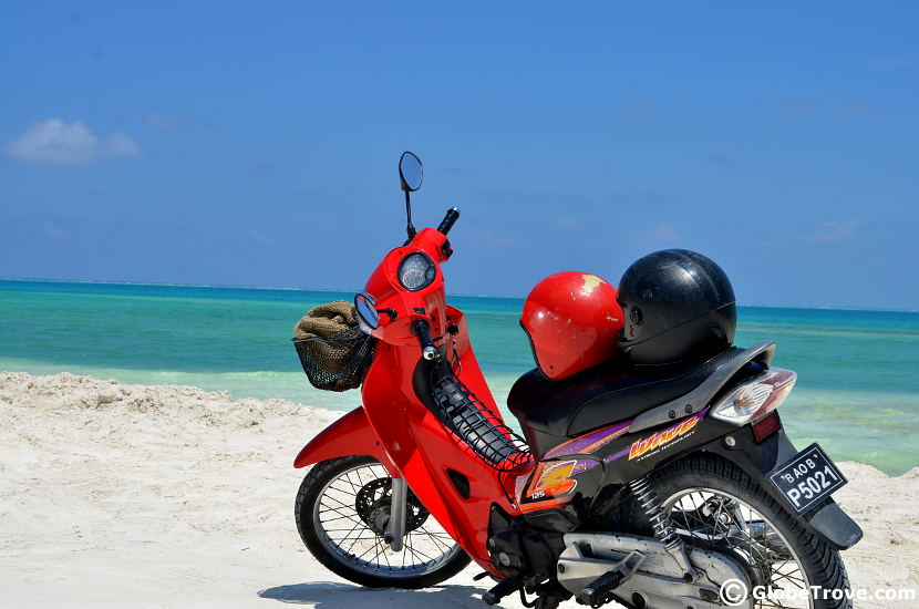 We used a scooter to travel through Addu Atoll during our Maldives Holidays