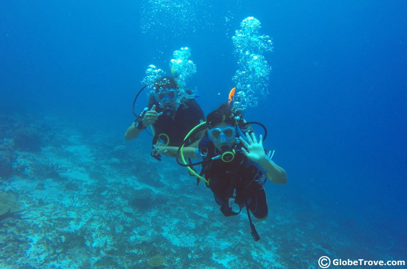Scuba diving is one the things to do in Addu atoll that gave us peace