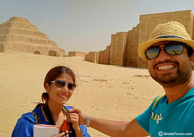 In front of the step pyramid in Saqqara