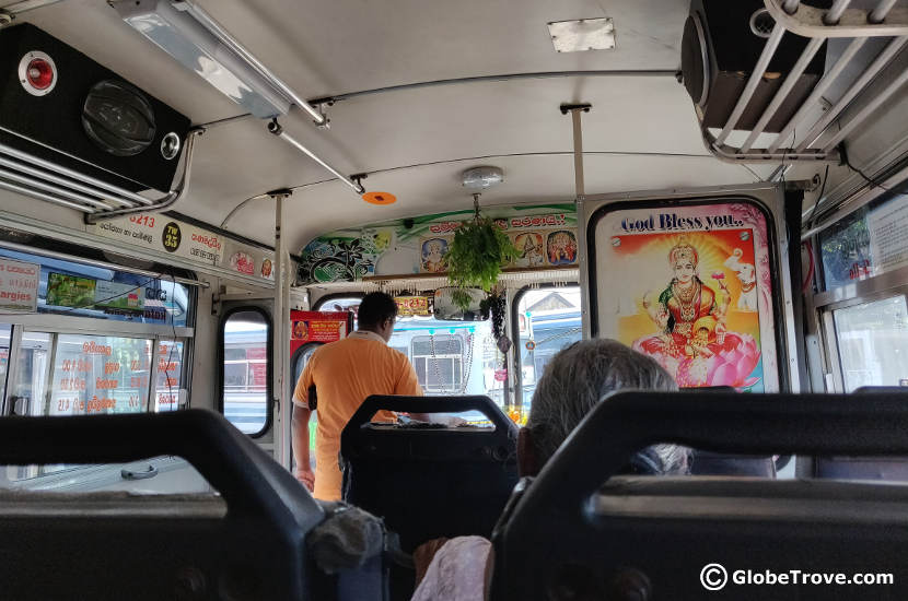 Inside the bus we took from Galle to Tissamaharama