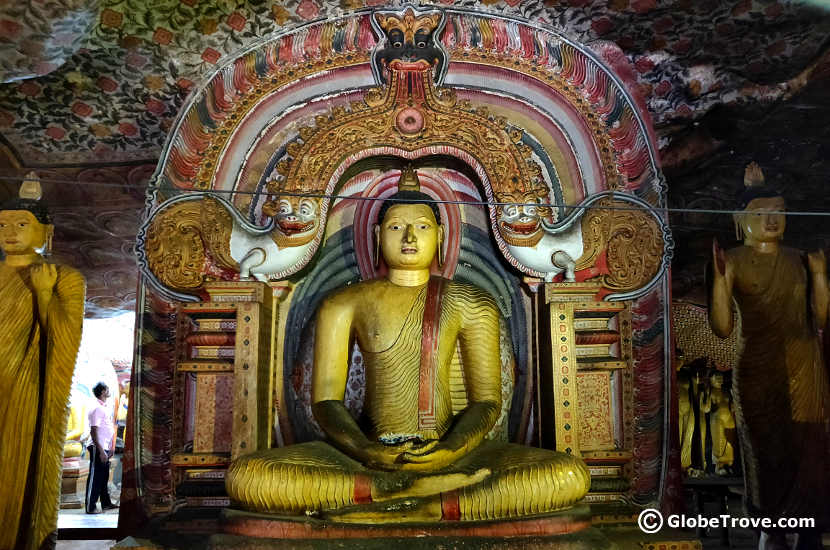 One of the many statues of Buddha in the Dambulla Cave Temple