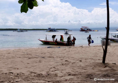 Taking the local boat from Nusa Penida to Nusa Lembongan