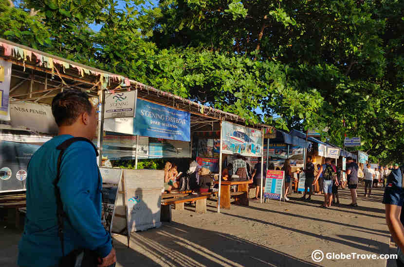 The harbour at Sanur where numerous ticket offices are stationed.